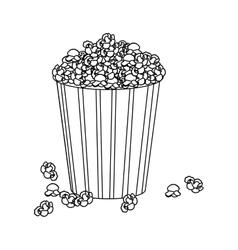 silhouette box with pop corn icon design vector image