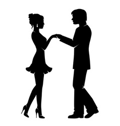 silhouette of a loving couple vector image vector image