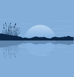 silhouette of coarse grass on the lake scenery vector image vector image