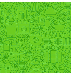 Thin line saint patrick day seamless green pattern vector