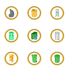 Urns icon set cartoon style vector