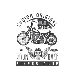 Wild racer vintage print with motorcycle wings and vector