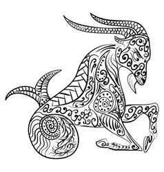 Zentangle zodiac capricorn vector image vector image