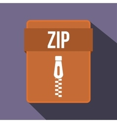 Zip file icon flat style vector