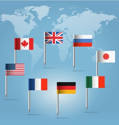 G8 countries flag pins over world map vector