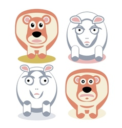 Scared and angry sheeps vector