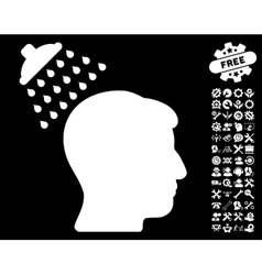 Head shower icon with tools bonus vector