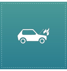 Car fired flat icon vector