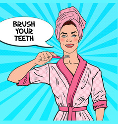 pop art smiling pretty woman with toothbrush vector image