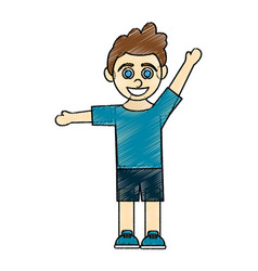 Color pencil caricature curly hair boy with open vector