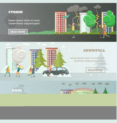 set of weather concept horizontal banners vector image