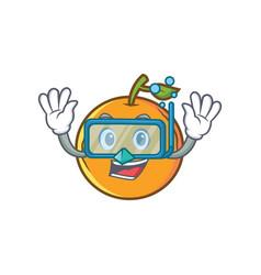 Diving orange fruit cartoon character vector
