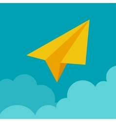 Paper plane on cloud concept in flat style vector image