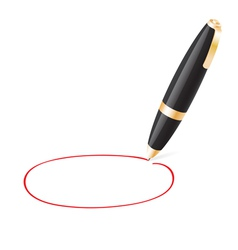 Ball pen draws jauntily circle vector