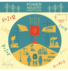 Power energy industry infographic electric systems vector