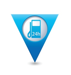 Petrol station 24h blue triangular map pointer vector