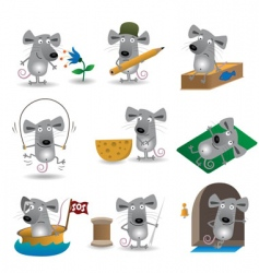 Cartoon mice set vector
