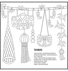 Tanabata hand-drawn symbols vector