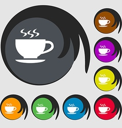 The tea and cup icon symbols on eight colored vector