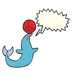 Cartoon performing seal with speech bubble vector