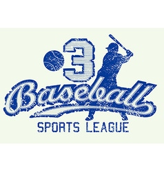Mid blue baseball distressed print with player vector image