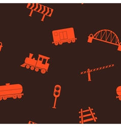 Seamless pattern with railroad icons vector