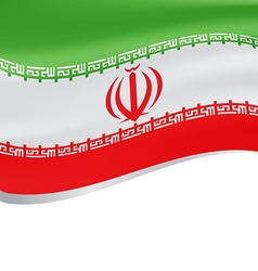Waving flag of iran isolated on white background vector