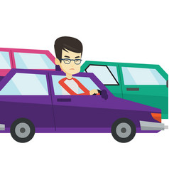 Angry asian man in car stuck in traffic jam vector
