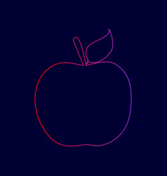 Apple sign line icon with vector