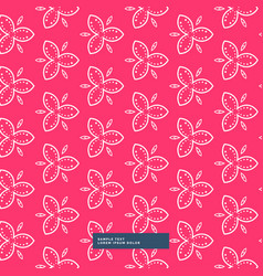 Beautiful pink flower pattern background vector