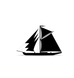 black ship silhouette vector image