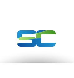 Blue green sc s c alphabet letter logo vector