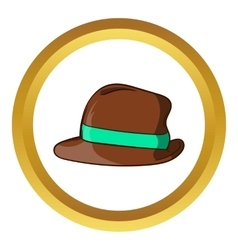 Brown retro hat icon cartoon style vector