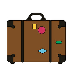 Color image travel briefcase with handle vector