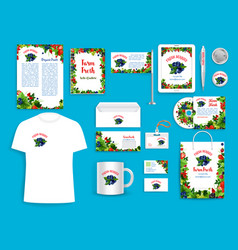 Corporate identity items for berry company vector