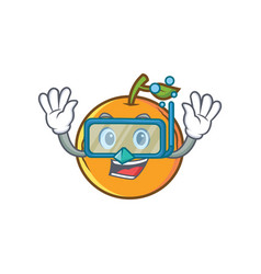 Diving orange fruit cartoon character vector