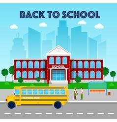 Education Concept School Building and School Bus vector image