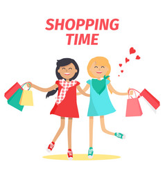 friends shopping time flat concept vector image vector image