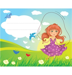 girl playing vector image