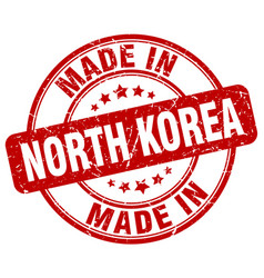 Made in north korea red grunge round stamp vector