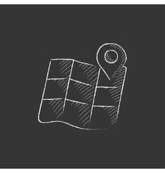 Map with pointer drawn in chalk icon vector