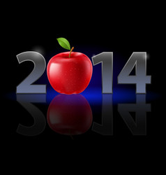 new year 2014 metal numerals with red apple vector image vector image