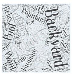 Popular backyard activities for adults word cloud vector