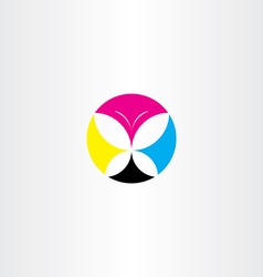 printing cmyk butterfly icon logo vector image vector image