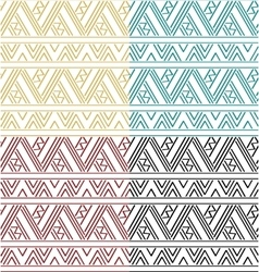 Set of simple ethnic geometric seamless pattern vector image vector image