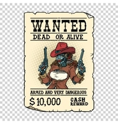 Steampunk female robot bandit wild West Western vector image