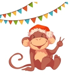 Sweet monkey with flags and hat for 2016 new year vector