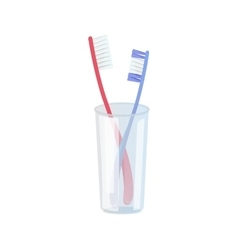 Toothbrushes in Plastic Glass vector image vector image