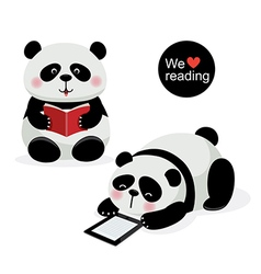 Two cute pandas with reading concept vector
