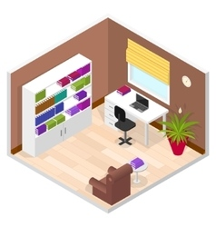 Office room isometric view vector